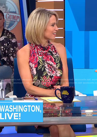 Amy's black floral sleeveless dress on Good Morning America