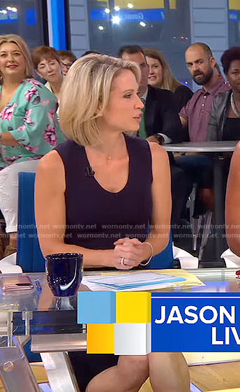 Amy's black scoop neck dress on Good Morning America