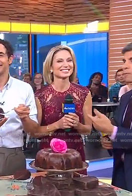 Amy's burgundy lace dress on Good Morning America