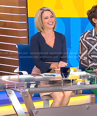 Amy's navy v-neck bell sleeve top and pink skirt on Good Morning America