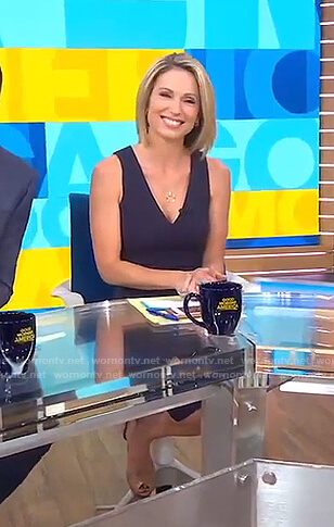 Amy's navy v-neck dress on Good Morning America