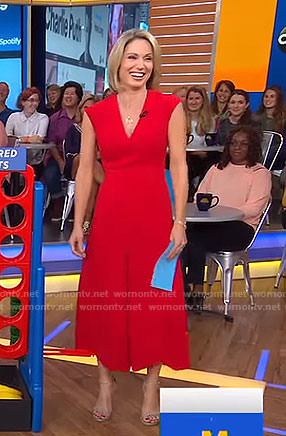 Amy's red wide-leg jumpsuit on Good Morning America