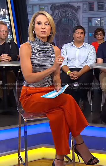 Amy's space dye sleeveless top and orange wide-leg pants on Good Morning America