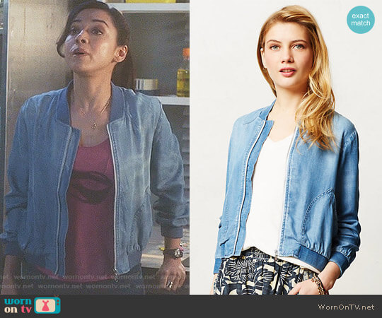 Chambray Bomber by Cloth & Stone at Anthropologie worn by Aimee Garcia on Lucifer