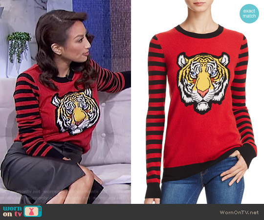 Cashmere Tiger Intarsia Sweater by Aqua Cashmere worn by Jeannie Mai  on The Real