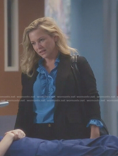 Arizona's blue ruffle blouse on Grey's Anatomy