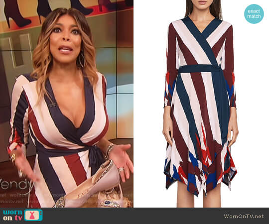Isabella Asymmetric Wrap Dress by BCBGMAXAZRIA worn by Wendy Williams  on The Wendy Williams Show