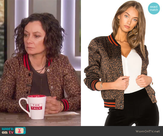 Leopard Jungle Bomber Jacket by Bailey 44 worn by Sara Gilbert on The Talk