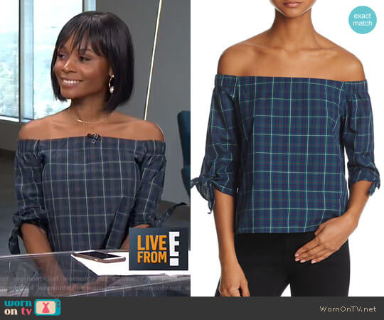 Off-the-Shoulder Plaid Top by Bailey 44 worn by Zuri Hall on E! News
