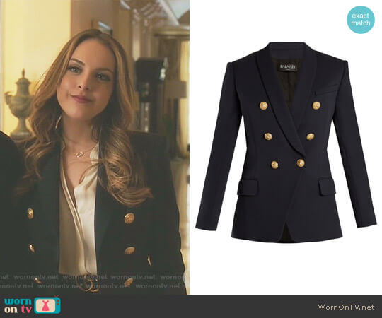 Double-Breasted Shawl Collar Blazer by Balmain worn by Elizabeth Gillies on Dynasty