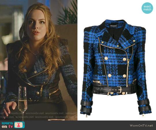 Tweed Biker Jacket by Balmain worn by Elizabeth Gillies on Dynasty