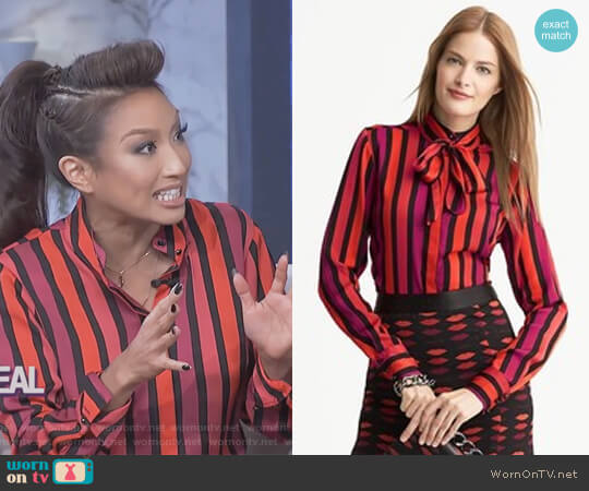Banana Republic Lwren Scott Collection Striped Bow Blouse worn by Jeannie Mai on The Real