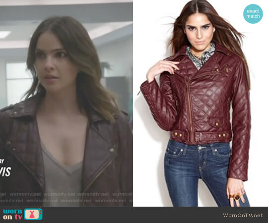 Quilted Faux-Leather Motorcycle Jacket by Bar lll worn by Malia Tate (Shelley Hennig) on Teen Wolf