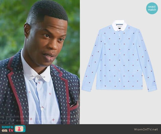 a82ab37511a Bee Fil Coupé Cambridge Shirt by Gucci worn by Jeff Colby (Sam Adegoke) on