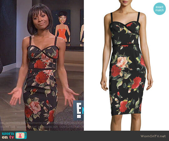 Black Halo Daria Dress in Petal Pusher worn by Zuri Hall on E! News
