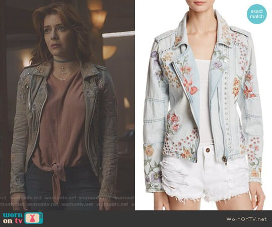 Floral Embroidered Denim Moto Jacket by BlankNYC worn by Elena Satine on The Gifted