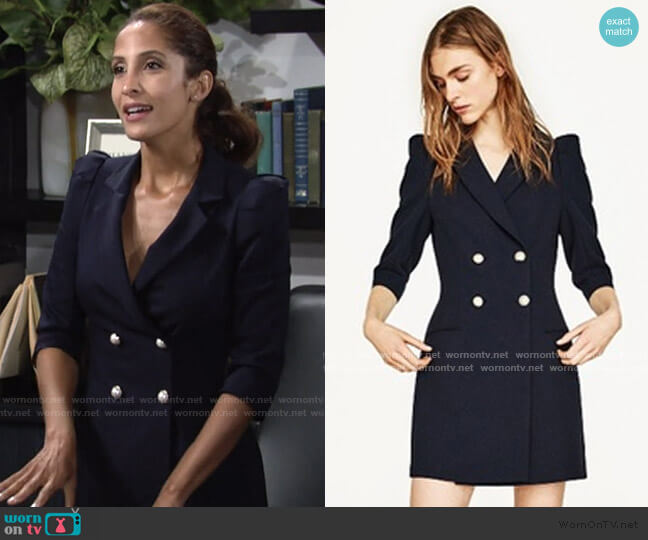 Zara Blazer Dress with Pearl Buttons worn by Lily Winters (Christel Khalil) on The Young & the Restless