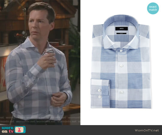Enlarged-Check Slim-Fit Dress Shirt by BOSS worn by Sean Hayes on Will & Grace
