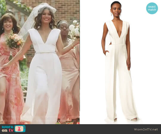 V Neck Pleated Jumpsuit by Brandon Maxwell worn by Nathalie Kelley on Dynasty