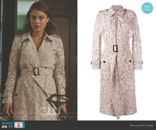 Macramé Lace Wrap Trench Coat by Burberry worn by Cristal Flores (Nathalie Kelley) on Dynasty