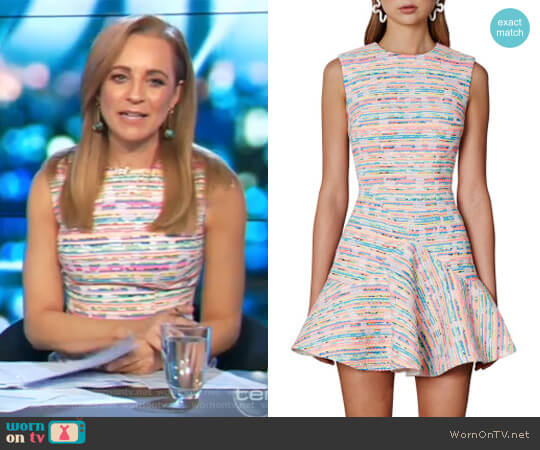 Neon Weave V Flare Mini Dress by -by Johnny.- worn by Carrie Bickmore on The Project