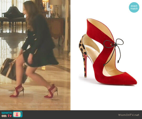 Ferme Rouge Pump by Christian Louboutin worn by Elizabeth Gillies on Dynasty