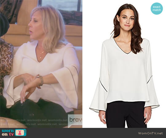 Bell Sleeve Blouse by Calvin Klein worn by Vicki Gunvalson on The Real Housewives of Orange County