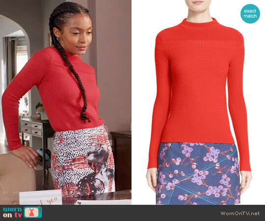 Carven Mixed Stitch Wool Blend Sweater worn by Yara Shahidi on Blackish