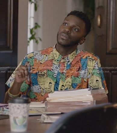 Jermaine's cat print shirt on The Mayor