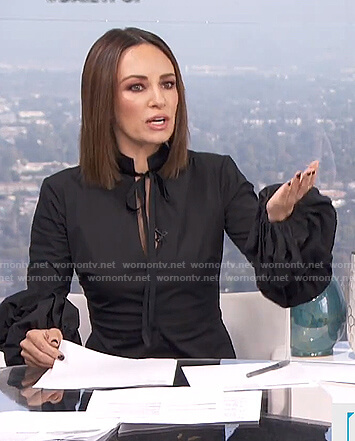 Catt's black balloon sleeve tie neck top on E! News Daily Pop