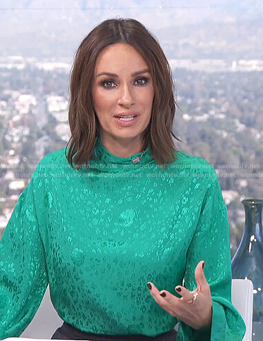 Catt's green floral mock neck top on E! News Daily Pop