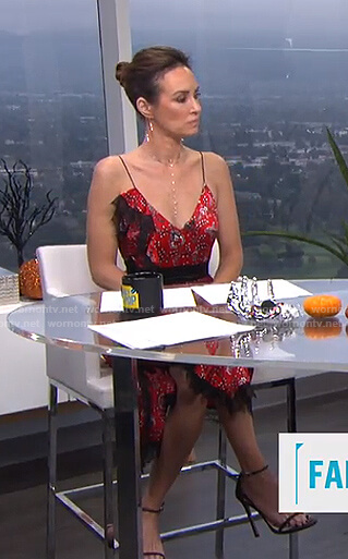 Catt's red floral ruffled dress on E! News Daily Pop