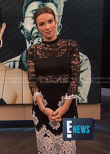 Catt's black floral lace midi dress on E! News