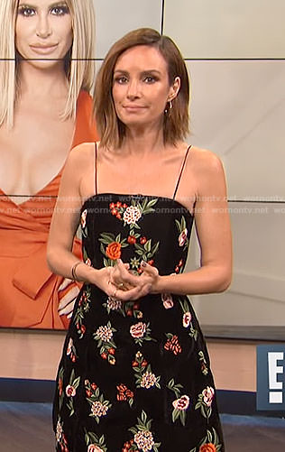 Catt's black floral spaghetti strap dress on E! News
