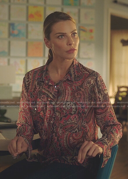 Chloe's pink paisley print blouse on Lucifer
