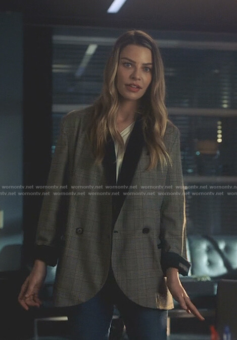 Chloe's plaid contrast shawl collar blazer on Lucifer