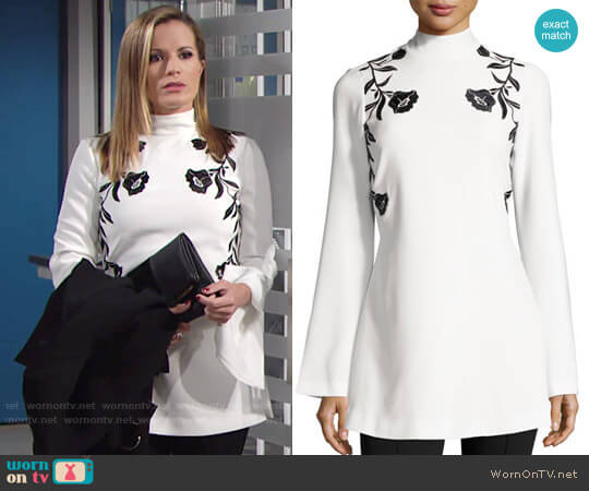 Cinq a Sept Rosabell Floral Open-Back Tunic worn by Chelsea Lawson (Melissa Claire Egan) on The Young & the Restless
