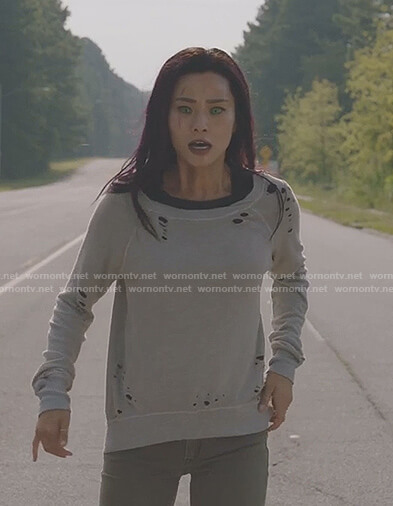 Clarice's grey distressed sweatshirt on The Gifted