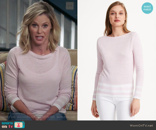 Club Monaco Lana Block Strip Sweater  worn by Julie Bowen on Modern Family