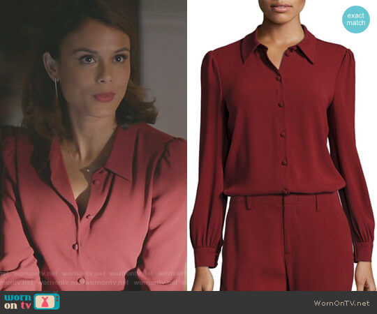 Classic Puff-Sleeve Crepe Blouse by Co worn by Cristal Flores (Nathalie Kelley) on Dynasty