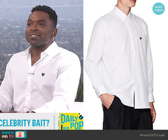 Heart Cotton Poplin Shirt by Comme Des Garcons PLAY worn by Justin Sylvester  on E! News