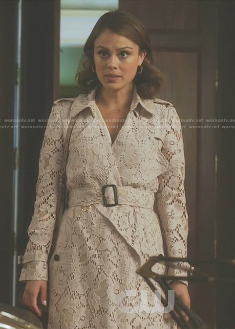 Cristal's nude lace trench coat on Dynasty