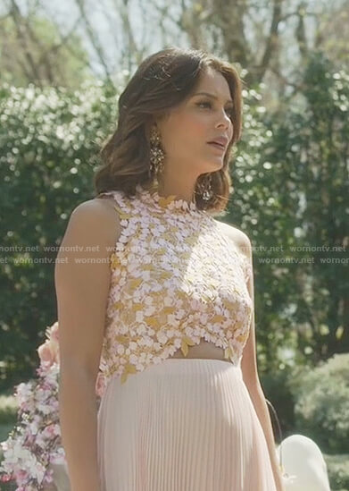 Cristal's pink floral lace and pleated dress on Dynasty