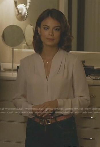 Cristal's white gathered v-neck blouse on Dynasty
