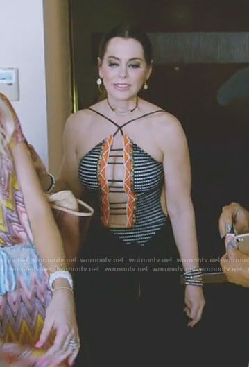 D'Andra's black and orange strappy suimsuit on The Real Housewives of Dallas