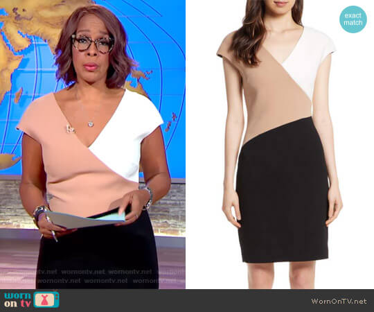 Colorblock Sheath Dress by Diane von Furstenberg worn by Gayle King on CBS This Morning