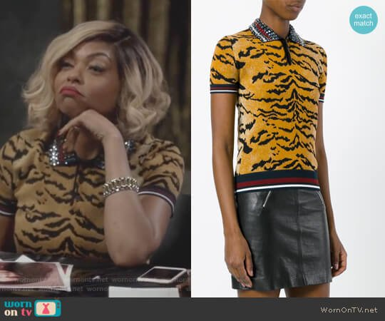 Embellished Polo Top by DSquared2 worn by Cookie Lyon (Taraji P. Henson) on Empire
