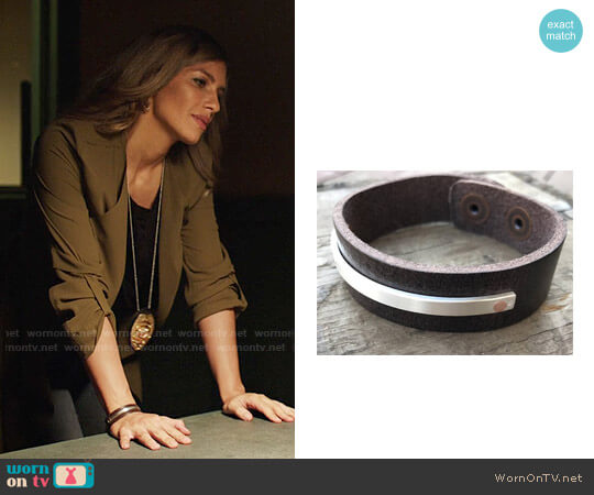DakotaDesignsJewelry Leather and Riveted Sterling Silver Bracelet worn by Dinah Drake (Juliana Harkavy) on Arrow