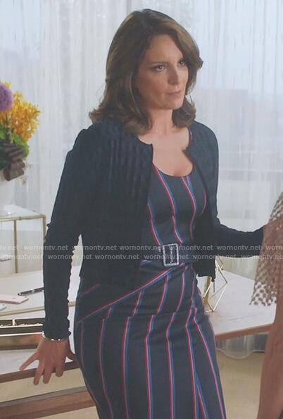 Diana's navy striped dress on Great News