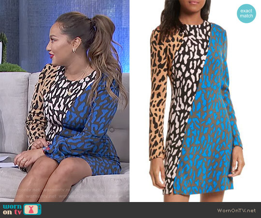 'Bias' Fitted Print Dress by Diane von Furstenberg worn by Adrienne Houghton on The Real